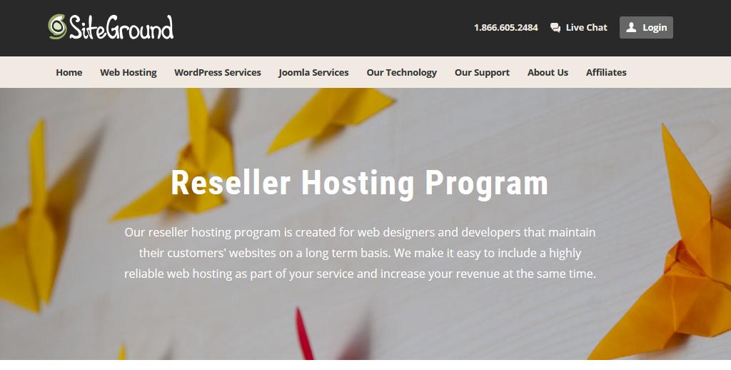 Siteground reseller hosting plan