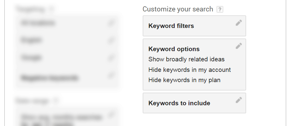 Google Keyword Planner customize your search