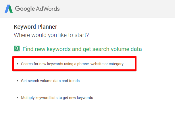 Google Keyword Planner options again