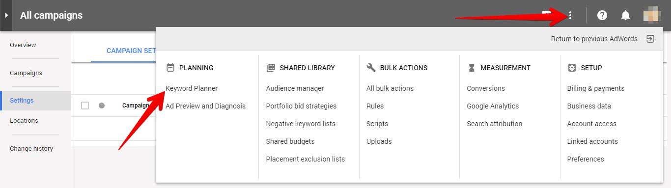 navigate to google keyword planner