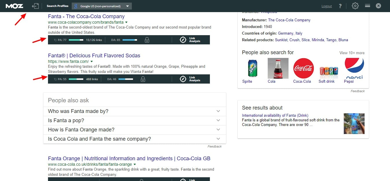 mozbar in search results
