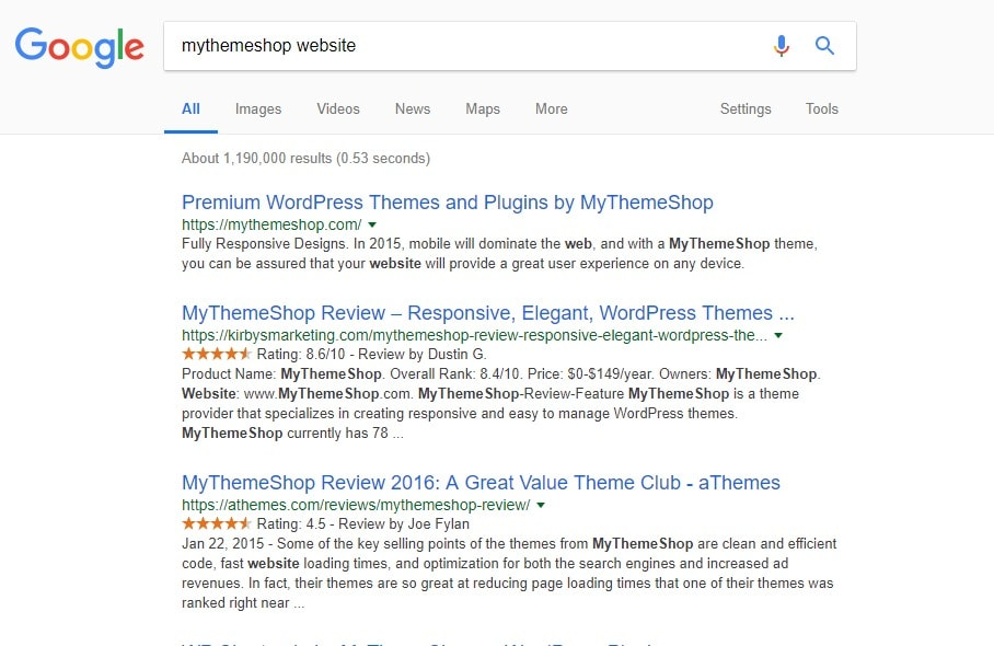 mythemeshop website brand keyword search