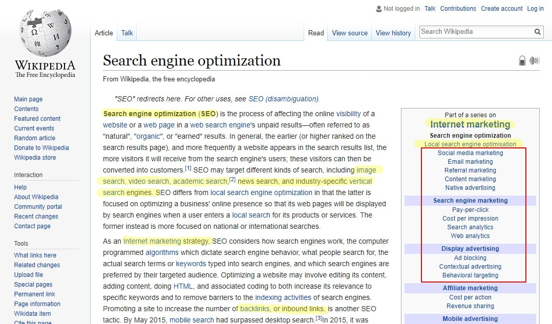 using wikipedia for seo