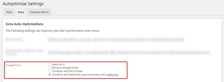 -Google-fontları autoptimize