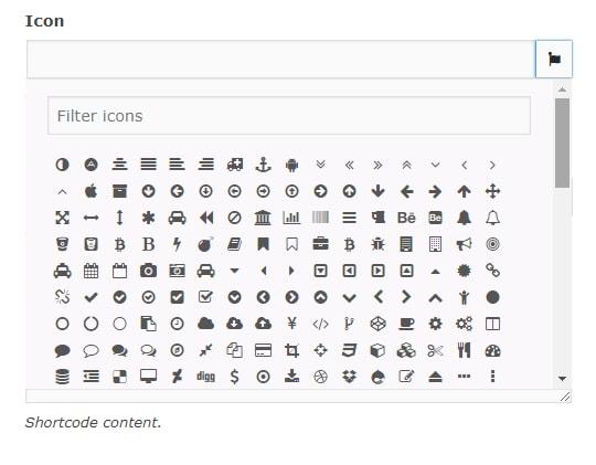 shortcode icons expaned