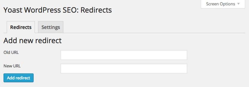 Yoast adding redirects manually