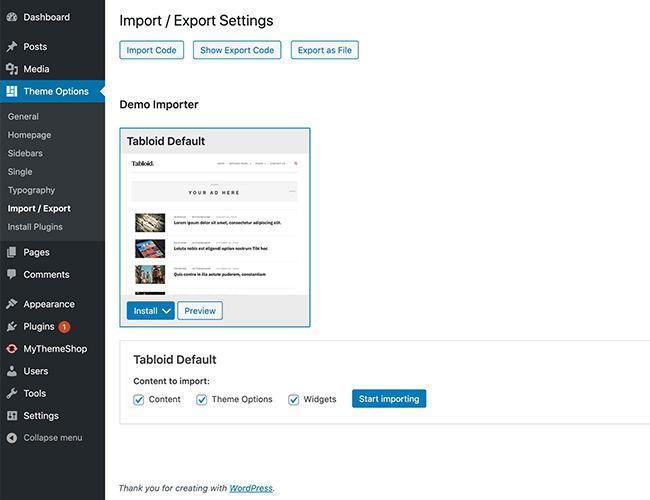 Import Export Options
