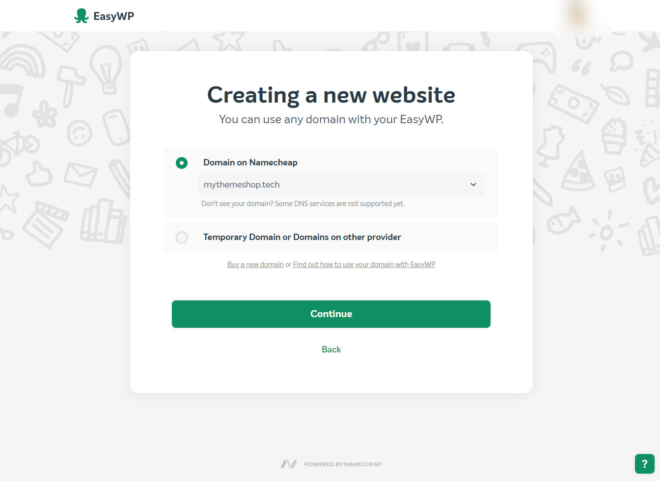 domain selection screen on easywp