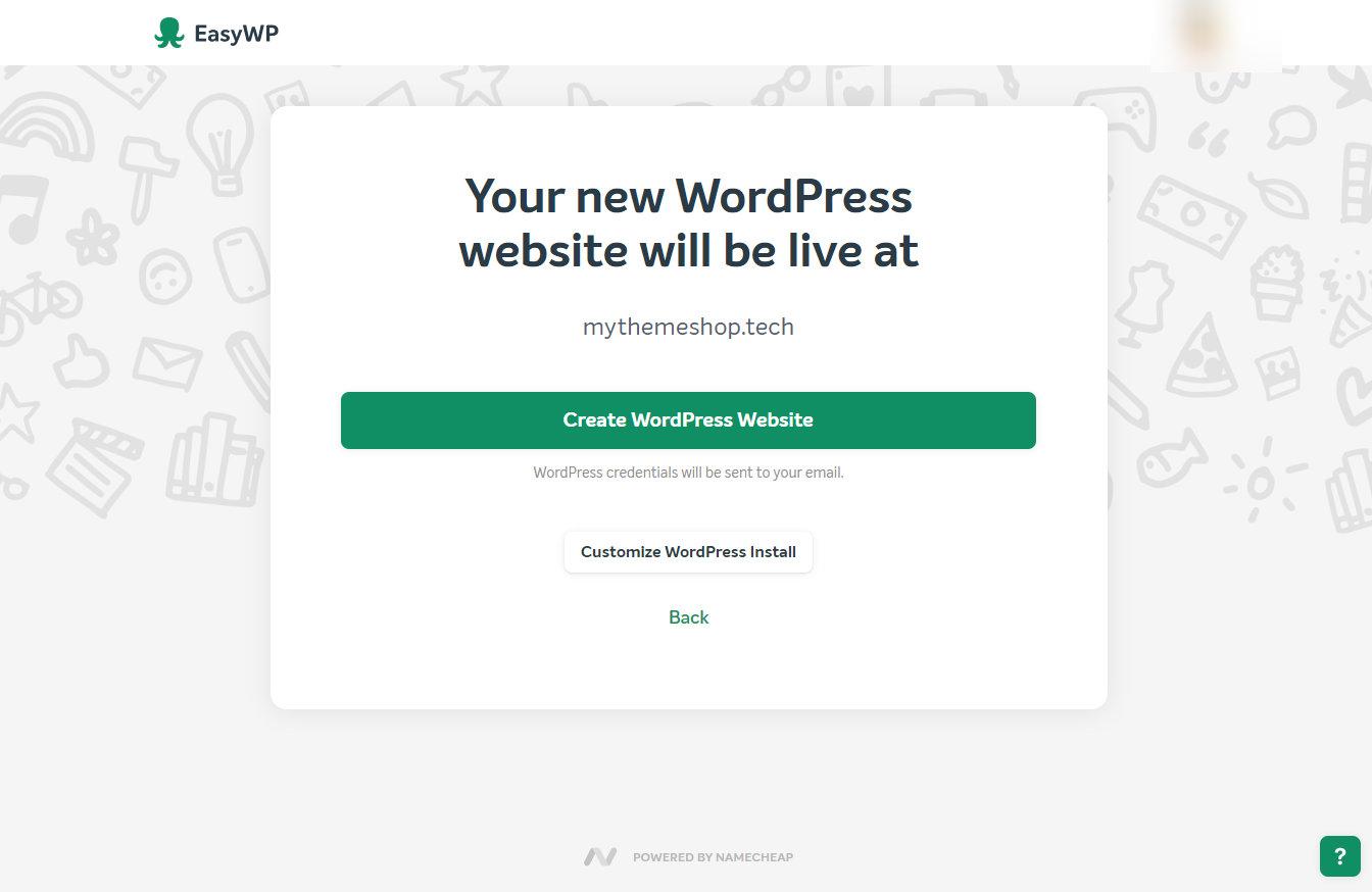 easywp wordpress customization screen