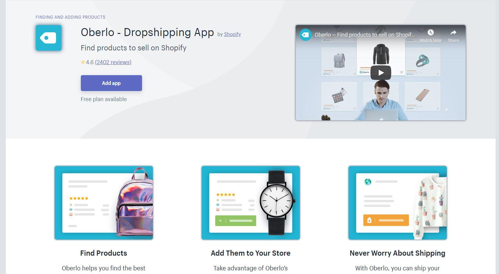Oberlo Shopify App