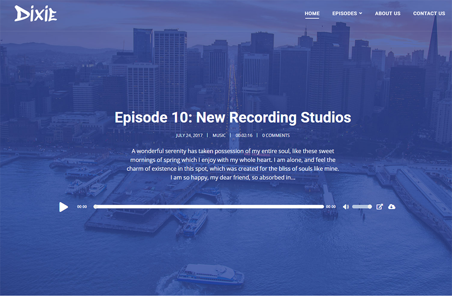 homepage of Dixie WordPress theme for podcasts