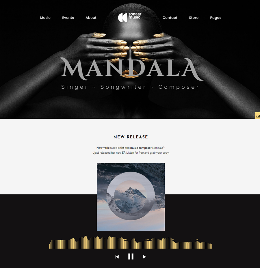 homepage of Mandala WordPress theme for podcasts