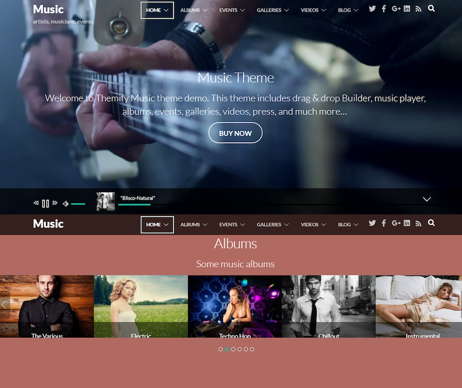 homepage of Music WordPress theme for podcasts