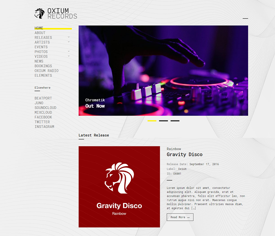 homepage of Oxium WordPress theme for podcasts