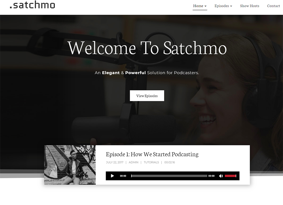 homepage of Satchmo WordPress theme for podcasts