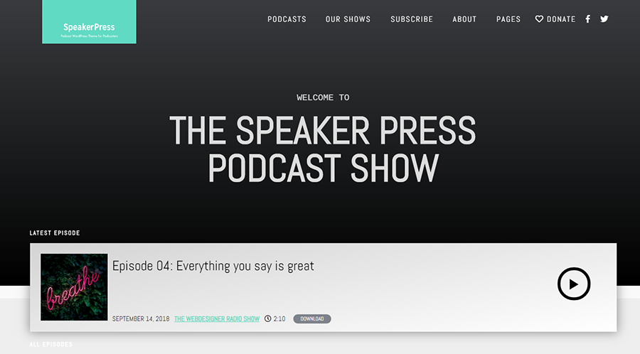 homepage of SpeakePress WordPress theme for podcasts