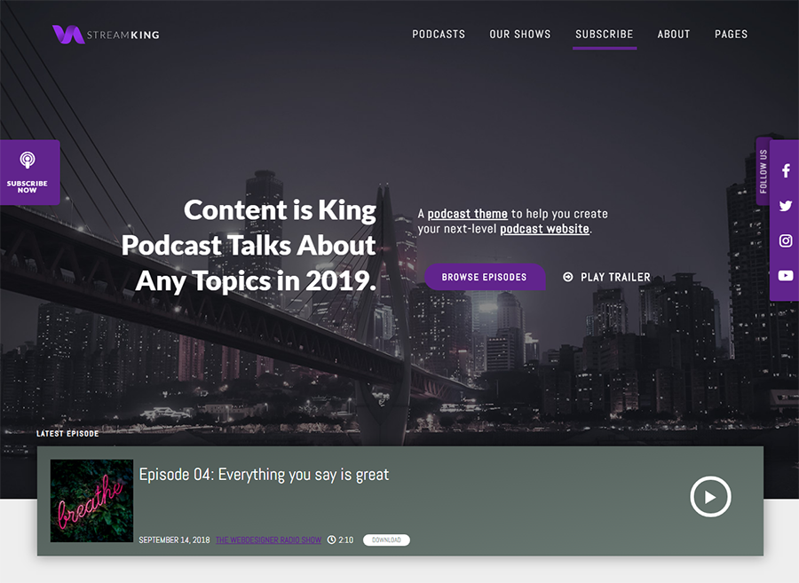 homepage of StreamKing WordPress theme for podcasts