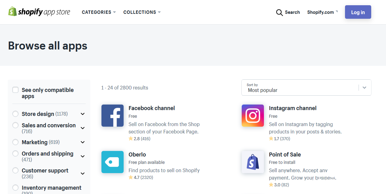 Opzioni di integrazione di Shopify