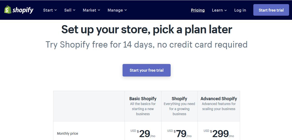 Tabella dei prezzi di Shopify
